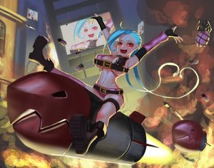 Rating: Safe Score: 53 Tags: blue_hair blush boots braids breasts cleavage elbow_gloves gloves jinx_(league_of_legends) league_of_legends long_hair navel red_eyes thighhighs weapon yuuuuuuuuuuuuka User: mattiasc02