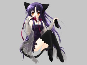 Rating: Safe Score: 72 Tags: animal_ears bell blush bow brown_eyes catgirl dress gray long_hair panties pure_pure purple_hair ribbons sakurazawa_izumi see_through tail thighhighs tobari underwear User: Oyashiro-sama