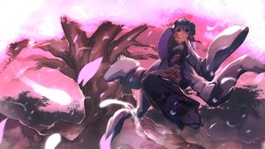 Rating: Safe Score: 36 Tags: cherry_blossoms fan japanese_clothes kimono leaves pink_hair red_eyes saigyouji_yuyuko skirt tagme_(artist) touhou tree User: luckyluna
