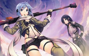 Rating: Safe Score: 525 Tags: gun gun_gale_online hinasaki kirigaya_kazuto shinon_(sao) sword_art_online weapon User: Wiresetc