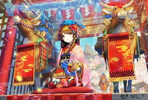 Rating: Safe Score: 8 Tags: animal brown_hair building festival japanese_clothes kimono long_hair original pi_(p77777778) signed stairs torii tree User: BattlequeenYume
