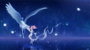 Rating: Safe Score: 108 Tags: animal chibiusa dress erian helios horse night petals pink_hair sailor_chibi_moon sailor_moon tree unicorn wings User: FormX