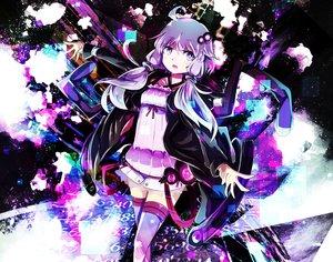 Rating: Safe Score: 30 Tags: dress hoodie long_hair purple_eyes purple_hair tagme_(artist) thighhighs twintails vocaloid voiceroid yuzuki_yukari zettai_ryouiki User: luckyluna