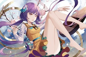 Rating: Safe Score: 42 Tags: cherry_blossoms dress instrument long_hair maiwetea music petals purple_eyes purple_hair touhou tsukumo_benben twintails User: ssagwp