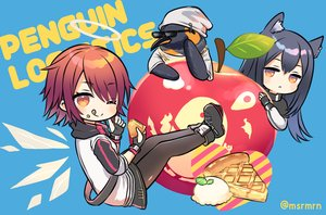 Rating: Safe Score: 27 Tags: angel animal animal_ears apple arknights black_hair blue boots exusiai_(arknights) food fruit gloves halo hat ice_cream long_hair marshmallow_mille orange_eyes pantyhose penguin red_hair short_hair sunglasses texas_(arknights) the_emperor_(arknights) waifu2x watermark wink User: otaku_emmy