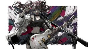 Rating: Safe Score: 66 Tags: aliasing blood blue_eyes breasts brown_hair choker cleavage fang guitar instrument long_hair microphone naruwe navel original polychromatic third-party_edit twintails User: otaku_emmy