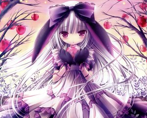 Rating: Safe Score: 446 Tags: animal_ears apple blush bow cropped dress food fruit gloves gray_hair original purple_eyes scan tinkle User: mattiasc02