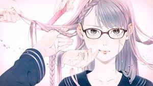 Rating: Safe Score: 130 Tags: blush braids glasses gray_eyes gray_hair long_hair original umishima_senbon User: luckyluna