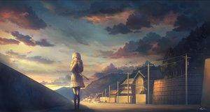 Rating: Safe Score: 91 Tags: building city clouds feel_(nasitaki) forest landscape original scarf scenic signed skirt sky sunset tree User: luckyluna