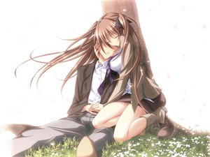 Rating: Safe Score: 73 Tags: anna_(mirai_nostalgia) brown_hair game_cg grass koku mirai_nostalgia purple_software User: Wiresetc