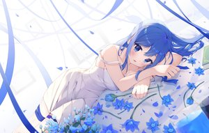 Rating: Safe Score: 103 Tags: blue_eyes blue_hair blush dress flowers jpeg_artifacts keis_(locrian1357) long_hair original ribbons summer_dress User: BattlequeenYume