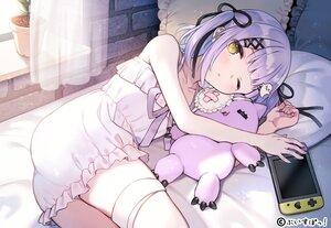 Rating: Safe Score: 65 Tags: bandage bed blush bow doll dress flat_chest game_console garter nishizawa pajamas purple_hair ribbons shinomiya_runa short_hair tears twintails wink yellow_eyes User: BattlequeenYume