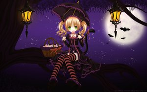 Rating: Safe Score: 171 Tags: animal_ears goth-loli halloween loli lolita_fashion moon night tail thighhighs tinkerbell tinkle twintails umbrella underwear vector User: gnarf1975