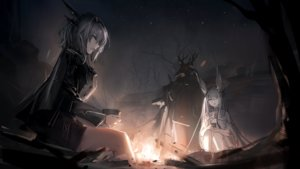Rating: Safe Score: 45 Tags: animal_ears arknights bunny_ears fire frostnova_(arknights) game_cg gray_eyes gray_hair horns long_hair male night patriot_(arknights) tagme_(artist) talulah_(arknights) User: Nepcoheart
