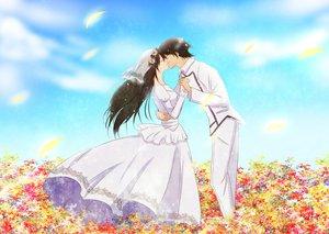 Rating: Safe Score: 27 Tags: black_hair dress flowers kiss leaves long_hair marina_ismail mobile_suit_gundam mobile_suit_gundam_00 ren_(palette) setsuna_f_seiei short_hair wedding_attire User: FormX