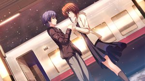 Rating: Safe Score: 34 Tags: blue_hair brown_hair dress game_cg koi_de_wa_naku makishima_yumi norifumi_(koi_de_wa_naku) short_hair tomose_shunsaku User: Katsumi