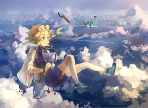 Rating: Safe Score: 101 Tags: 2girls cirno clouds fairy gensou_kuro_usagi hat moriya_suwako sky touhou User: FormX