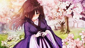 Rating: Safe Score: 58 Tags: blush brown_eyes brown_hair cherry_blossoms flowers game_cg grass japanese_clothes long_hair mirror_(game) petals tagme_(artist) tree zombie_caiyun User: Demuwu