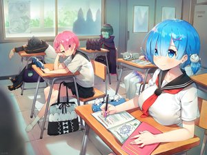 Rating: Safe Score: 106 Tags: animal aqua_eyes aqua_hair ayamy betelgeuse_romanee-conti black_hair book breasts cat emilia_(re:zero) green_hair group male natsuki_subaru pink_eyes pink_hair puck ram_(re:zero) rem_(re:zero) re:zero_kara_hajimeru_isekai_seikatsu school_uniform short_hair skirt sleeping twins User: RyuZU