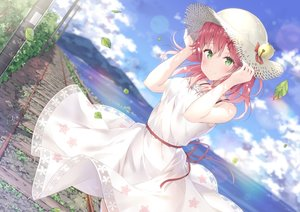 Rating: Questionable Score: 73 Tags: blush clouds dress green_eyes hat hatsuki_kaname hololive leaves pink_hair sakura_miko see_through sky summer_dress train water User: BattlequeenYume