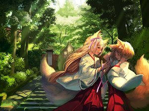 Rating: Safe Score: 60 Tags: 2girls animal_ears blonde_hair bow brown_eyes forest foxgirl japanese_clothes long_hair miko multiple_tails okuma_mai original ribbons short_hair stairs tail tree User: BattlequeenYume