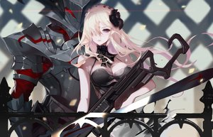 Rating: Safe Score: 63 Tags: armor blonde_hair breasts fate/apocrypha fate/grand_order fate_(series) flowers gun headdress long_hair mordred purple_eyes rabbit_(tukenitian) weapon User: RyuZU