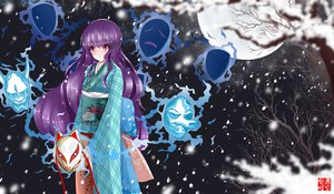 Rating: Safe Score: 53 Tags: dusk/dawn hata_no_kokoro japanese_clothes kimono mask moon night purple_eyes purple_hair snow touhou tree User: STORM