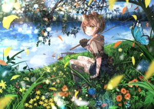 Rating: Safe Score: 40 Tags: animal_ears blush butterfly clouds flowers grass original short_hair shorts sky stockings tail tree umi_no_mizu water yellow_eyes User: BattlequeenYume