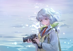 Rating: Safe Score: 41 Tags: arknights blue_hair brown_eyes camera hoodie jpeg_artifacts kurasamerukia scene_(arknights) short_hair tie water User: RyuZU
