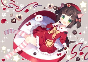 Rating: Safe Score: 63 Tags: animal_ears anthropomorphism azur_lane brown_hair candy catgirl cat_smile chocolate fang green_eyes kneehighs loli lolita_fashion mutsuki_(azur_lane) school_uniform tail tsukimi_(xiaohuasan) twintails valentine User: BattlequeenYume