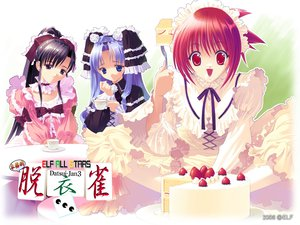 Rating: Safe Score: 7 Tags: black_hair blue_eyes blue_hair cake elf_all_stars food fruit lolita_fashion red_eyes red_hair strawberry User: Oyashiro-sama