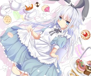 Rating: Safe Score: 33 Tags: aliasing alice_in_wonderland anthropomorphism apron aqua_eyes aruka_(alka_p1) cake cosplay dress drink food headband hibiki_(kancolle) kantai_collection long_hair skirt_lift thighhighs verniy_(kancolle) white_hair User: luckyluna