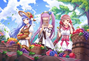 Rating: Safe Score: 85 Tags: aliasing apple blue_hair bow braids clouds dress flowers food fruit hat headdress houchi_shoujo lolita_fashion long_hair lunacle pink_eyes pumpkin purple_hair rose sky tagme_(character) tree twintails User: BattlequeenYume