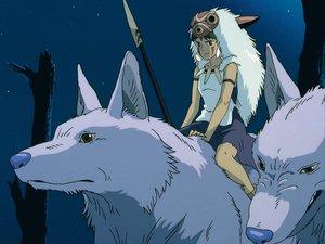 Rating: Safe Score: 32 Tags: animal ghibli mask mononoke_hime san spear weapon wolf User: Oyashiro-sama