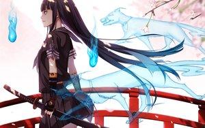 Rating: Safe Score: 273 Tags: animal black_hair fox katana kimura_(ykimu) long_hair original school_uniform skirt sword weapon User: Flandre93