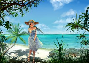 Rating: Safe Score: 51 Tags: aqua_eyes beach blue_hair blush breasts calpis-tan cleavage clouds grass hat karupi-ko_tan_purojekuto kuro_(kurodoodle22) leaves long_hair scenic sky summer_dress tree twintails water User: mattiasc02