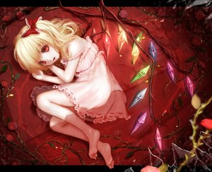 Rating: Safe Score: 124 Tags: barefoot blonde_hair dress flandre_scarlet flowers hoshibuchi loli red_eyes rose touhou vampire wings User: FormX