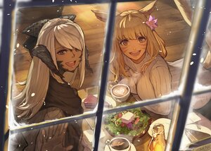 Rating: Safe Score: 47 Tags: 2girls animal_ears au_ra blonde_hair blue_eyes catgirl final_fantasy final_fantasy_xiv food hide_(hideout) horns long_hair miqo'te scarf tail white_hair yellow_eyes User: SciFi