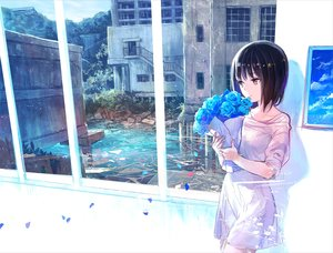 Rating: Safe Score: 178 Tags: blue building flowers fuji_choko petals rose scenic water User: FormX