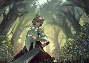Rating: Safe Score: 136 Tags: animal_ears bellabow forest gray_hair hat inubashiri_momiji japanese_clothes red_eyes short_hair sword touhou tree weapon wolfgirl User: Flandre93
