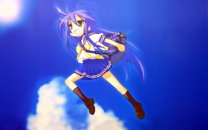 Rating: Safe Score: 56 Tags: blue blue_hair clouds green_eyes izumi_konata jpeg_artifacts kneehighs long_hair lucky_star parody school_uniform sky toki_wo_kakeru_shoujo User: Oyashiro-sama