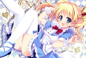 Rating: Safe Score: 82 Tags: alice_cartelet alice_in_wonderland apron aqua_eyes ass blonde_hair bow dress kiniro_mosaic long_hair nagayama_yuunon panties thighhighs twintails underwear User: RyuZU