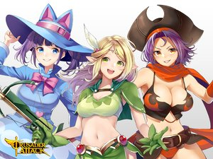 Rating: Safe Score: 9 Tags: animal_ears blonde_hair blue_eyes blush bow breasts cape cleavage crusader_attack green_eyes gun hat navel orange_eyes pointed_ears purple_hair retsuna tagme_(character) twintails weapon white User: RyuZU