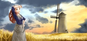 Rating: Safe Score: 25 Tags: brown_eyes brown_hair clouds hat landscape lordless original scenic skirt wet windmill User: humanpinka