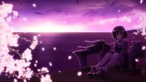 Rating: Safe Score: 37 Tags: animal bird cherry_blossoms haguro_(kancolle) kantai_collection purple red_eyes short_hair sunset tagme_(artist) tree water User: humanpinka