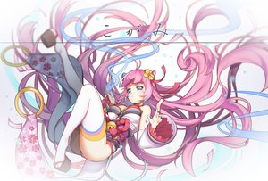 Rating: Safe Score: 58 Tags: animal_ears aqua_eyes bell breasts cleavage flowers greetload japanese_clothes long_hair magic miko ofuda original pink_hair pixiv_fantasia thighhighs white User: FormX