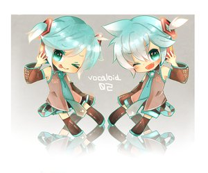 Rating: Safe Score: 16 Tags: aqua_hair chibi cosplay kagamine_len kagamine_rin tie twintails vocaloid User: HawthorneKitty