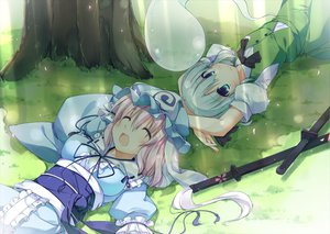 Rating: Safe Score: 62 Tags: 2girls dress grass hat katana konpaku_youmu myon saigyouji_yuyuko sword touhou t-ray weapon User: HawthorneKitty