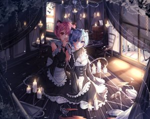 Rating: Safe Score: 55 Tags: 2girls animal_ears aqua_eyes blue_eyes blue_hair blush catgirl headband maid purple_hair ram_(re:zero) rem_(re:zero) re:zero_kara_hajimeru_isekai_seikatsu short_hair tail twins wine_(2148_wine) User: BattlequeenYume