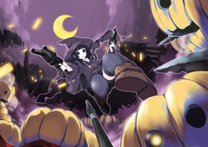 Rating: Safe Score: 92 Tags: gun halloween hat moon pumpkin sinchi tagme weapon witch User: opai